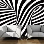 Papier peint - art optique: noir et blanc 250x193