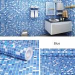Papier Peint Auto Adhésif En Vinyle, Solide Et Mat, Imperméable Pour Bricolage, Films De Décoration Pour La Maison, Affiche De Porte De Cuisine Et Salon Blue Mosaic
