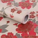 Papier peint autocollant - Motif vintage de fleurs rouges - Pour doublure d'armoires, d'étagères, de tiroirs et pour travaux manuels - 45x 200cm