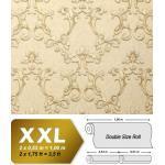 Papier peint baroque EDEM 9085-21 papier peint gaufré à chaud avec dos intissé gaufré avec des ornements floraux 3D satiné crème blanc-perlé ivoire clair or nacré 10,65 m