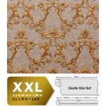 Papier peint baroque EDEM 9085-26 papier peint gaufré à chaud avec dos intissé gaufré avec des ornements floraux 3D satiné beige beige-gris jaune sable or 10,65 m