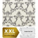 Papier peint baroque EDEM 9085-27 papier peint gaufré à chaud avec dos intissé gaufré avec des ornements floraux 3D satiné blanc argent gris 10,65 m