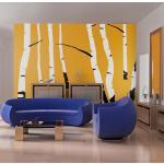 Papier peint - Birches on the orange background 200x154