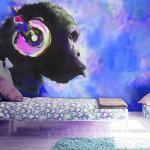 Papiers peints intissés Jardindeco bleus à motif animaux