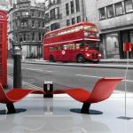 Papiers peints intissés Jardindeco rouges à motif bus