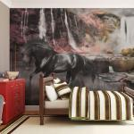 Papiers peints intissés Jardindeco noirs à motif animaux