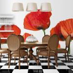 Papier Peint | Coquelicots Rouges Sur Fond Blanc | 300x231 | -