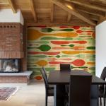 Papier peint - Couverts en vert et orange 350x270