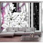 Papier peint - Crying lilies on purple marble 100x70