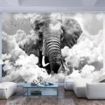 Papiers peints artgeist blancs à motif éléphants