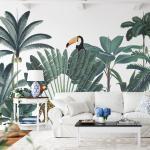 Papier peint jungle forêt tropicale luxuriante fond Blanc 255x260cm