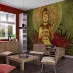 Papiers peints Bimago dorés à motif Bouddha