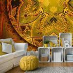 Papiers peints artgeist dorés à motif mandala