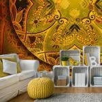 Papiers peints Bimago dorés à motif mandala