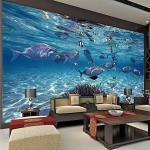 Papier Peint Monde sous-marin 3D bleu océan poissons photo papier peint murale personnalisée enfants chambre salon papier peint 400x280cm