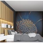 Papier peint panoramique en papier bleu nuit 288x270