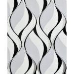 Papier peint rétro EDEM 1054-10 papier peint vinyle légèrement texturé avec un dessin graphique et des accents métalliques gris noir argent platine 5,33 m2