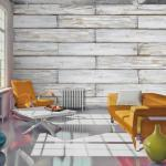 Papier peint - Tissage de bois 250x175