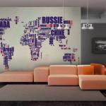 Papier peint - Travel center - 200x154 - Carte du monde -