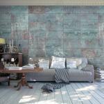 Papier peint - Turquoise Concrete - Décoration, image, art -