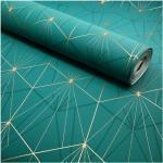 Papier peint vinyle sur intissé - Art déco - Bleu motif géométrique or - Rouleau(x)