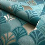 Papier peint vinyle sur intissé - Art déco - Motif floral bleu et doré - Rouleau(x)