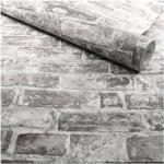 Papier peint vinyle sur intissé - Casual Minéral - Effet briques grises - Rouleau(x)
