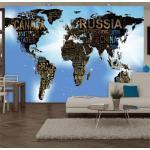 Papier peint - World Map - 400x280 - Carte du monde - Blue
