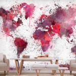 Papier peint - World Map: Red Watercolors 100x70