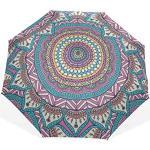 Parapluies de Voyage pour Filles Mandala Ethnique Mode géométrique 3 parapluies d'art pli (Impression extérieure Parapluie de Soleil Pliable Parapluie de Voyage Adulte Parapluie Mignon Voyage