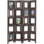 Paravent 4 panneaux marron en bois avec porte photos 160x125cm PAR04029