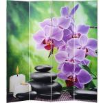 Paravent 4 panneaux pans séparateur de pièce 180x160cm motif orchidee PAR04044PAR04044