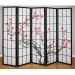 Paravent 5 panneaux japonais en bois noir 220x175cm PAR06015