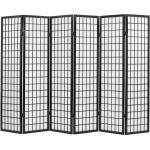 Paravent séparateur de pièce cloison de séparation décoration meuble 6 panneaux style japonais 240 cm noir 0802061