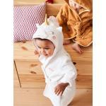 Peignoir de bain bébé personnalisable Licorne Oeko-Tex® blanc