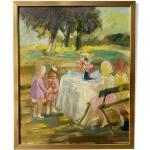 Peinture à l'huile encadrée suédoise du milieu du siècle - garden party
