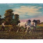 Peinture De Champ Labour D'Agriculteur Et Chevaux, Français Art Paysage Ferme Pays