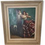 Peinture sur toile, couple danseur flamenco