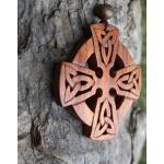 Pendentif En Bois Croix Celtique, Grand Collier Sculpté À La Main Rose, Croix Irlandaise, Pendentif Pour Hommes Cadeau Celtique De L'Irlande