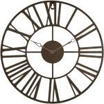 Pendule Vintage en Métal Time 36cm Marron - Paris Prix