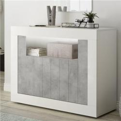Petit bahut 110 cm blanc et couleur béton gris moderne MABEL 5