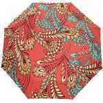 Petit Parapluie de Voyage Coupe-Vent extérieur Pluie Soleil UV Auto Compact 3 Plis Couverture de parapluies - Plumes Multicolores modèle sans Couture Style Oriental