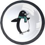 Pingouin de dessin animé Lot de 4 Boutons de Meuble Enfant,Poignées de Ttiroir Bouton de Porte pour Tiroir Placard Armoire Chambre des Enfants 3.5x2.8cm