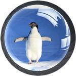 Pingouin des neiges Lot de 4 Boutons de Meuble Enfant,Poignées de Ttiroir Bouton de Porte pour Tiroir Placard Armoire Chambre des Enfants 3.5x2.8cm