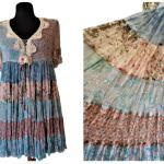Pink Blue Floral Silk Dress, Twin Set Simona Barbieri, Empire Waist Mini Summer Tiered Ruffled Taille M