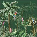 Plage 145113 Panoramique Intissé Amazonie Perroquets 250cm X 250cm, Vert, 2,5x 2,5m