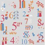 Plage 145117 Panoramique Intissé Chiffres Multicolores 250cm X 250cm, 2,5x 2,5m
