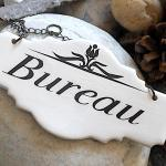 """Plaque De Porte Rétro En Céramique """"Bureau"""", Noire Sur Fond Écru"""