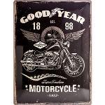 "Plaque en métal Goodyear ""Motorcycle"" Dimension: 30x40cm GoodYear"
