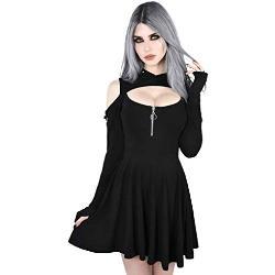 Robes de mariage noires à paillettes à manches longues à capuche à manches longues à épaules dénudées plus size look gothique pour femme